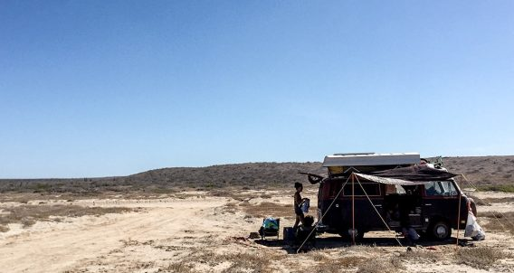 a VW Bus parked in the deserts of Baja California