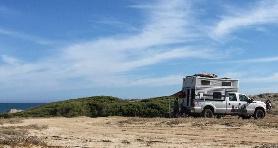 a four wheel drive camper on a ford pickup truck in Baja California