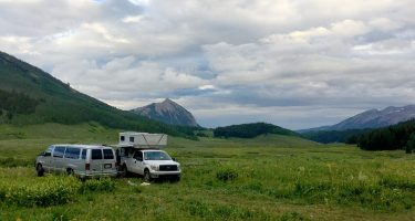 a four wheel camper truck camper and van camped in washington gulch near crested butte, co