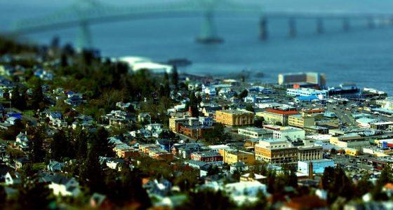 view of Astoria Oregon, including the Astoria-Megler Bridge and Columbia River