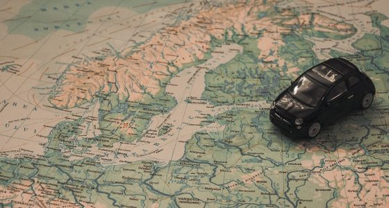 toy car on a map of northern europe