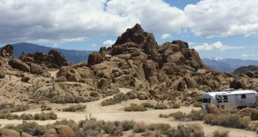 an Airstream boondocking in the alabama hills