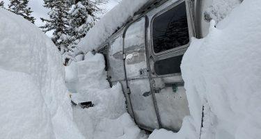 an airstream, deep in the snow