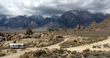 an airstream camped in the alabama hills of eastern california