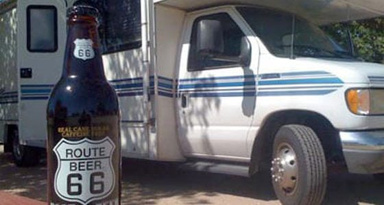 a Class C RV and a Route 66 root beer