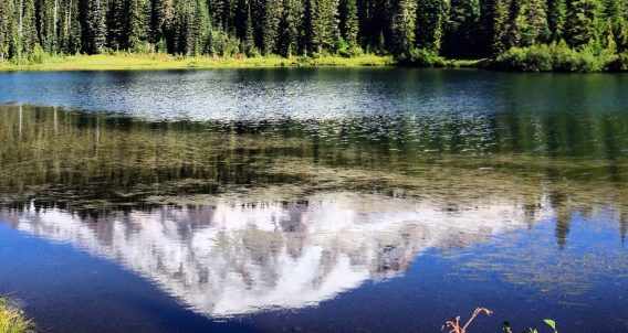 the reflection of a mountain, snow-topped, in an alpine lake below