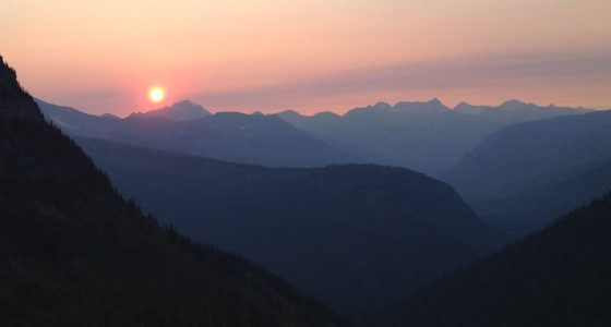 sunset over glacier national park