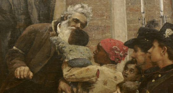 painting of slaves and confederate soldiers, young babies, mothers and grandfathers alike