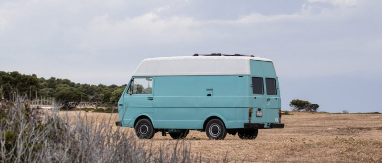 a Volkswagen LT camping in Europe