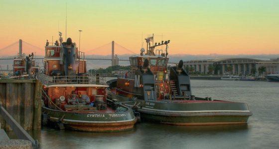 tugboats at sunrise in Savannah Georgia