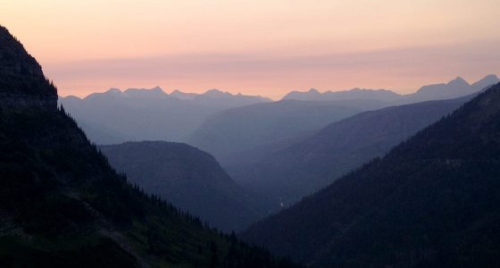 just after sunset, Glacier National Park