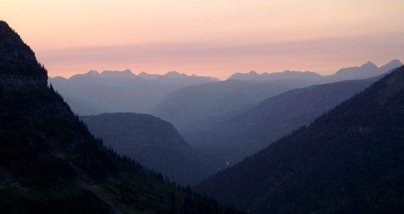 just after sunset, Glacier National Park