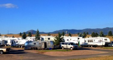 a sea of different types of RVs populating an RV park in Missoula, Montana